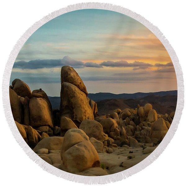 Desert Rocks Round Beach Towel