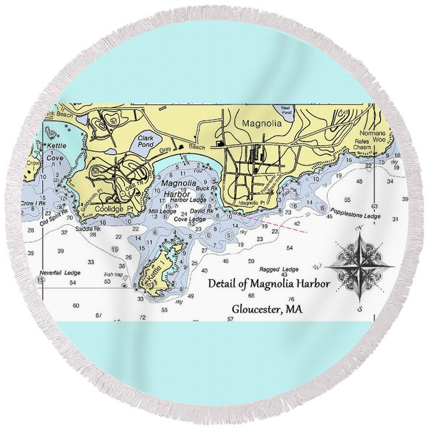 Detail Of Magnolia Harbor Round Beach Towel