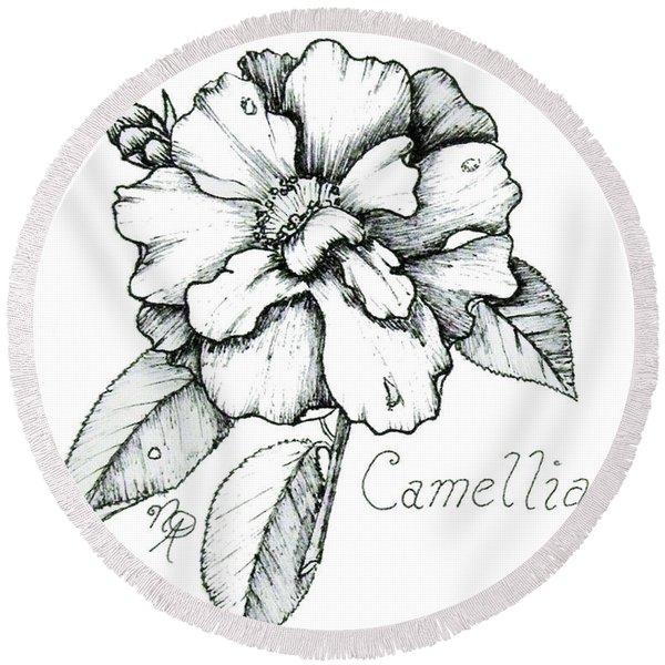 Dew Kissed Camellia Round Beach Towel