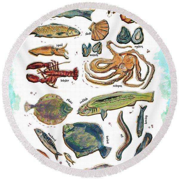 Different Fishes And Seafood Round Beach Towel