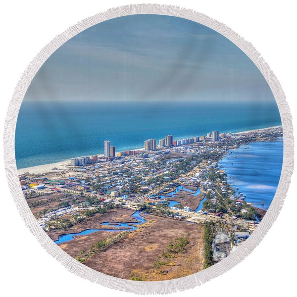 Distant Aerial View Of Gulf Shores Round Beach Towel