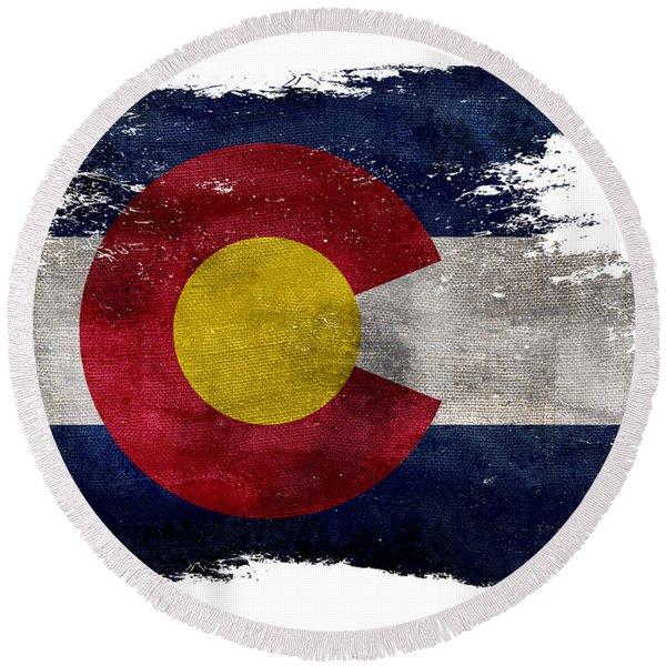Distressed Colorado Flag Round Beach Towel