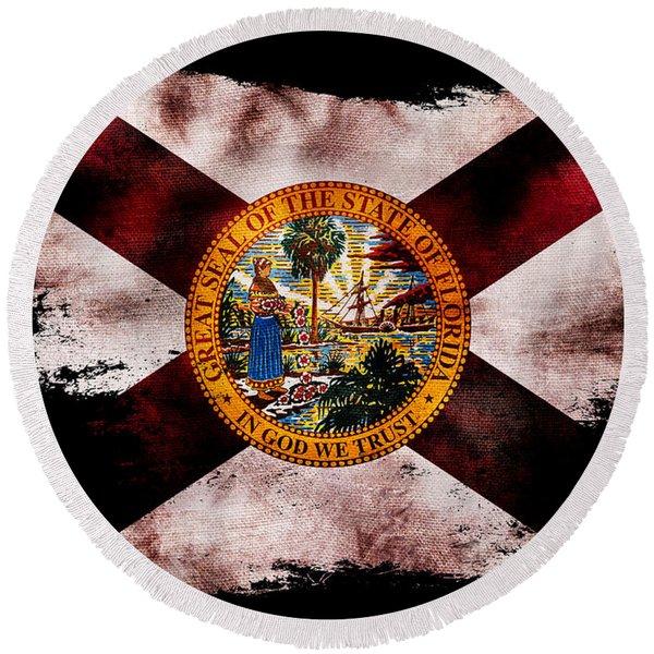 Distressed Florida Flag On Black Round Beach Towel