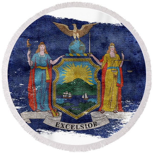 Distressed New York Flag Round Beach Towel