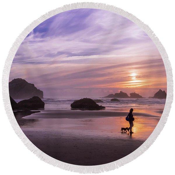 Dog Walker Round Beach Towel
