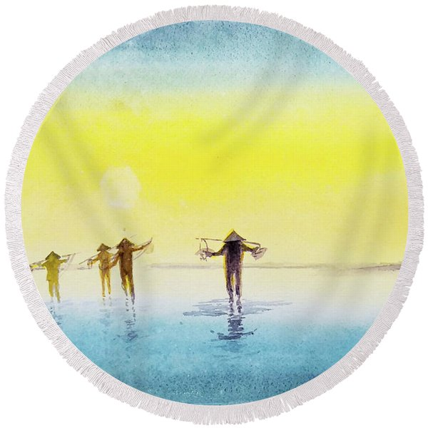 Done For The Day. Round Beach Towel