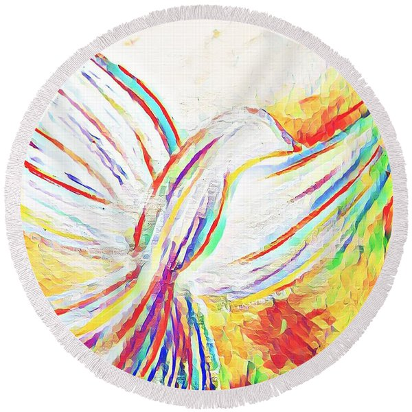 Holy Spirit Round Beach Towel