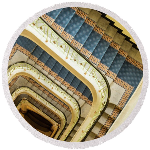 Down The Spiral Staircase Round Beach Towel
