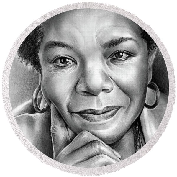 Dr Maya Angelou Round Beach Towel