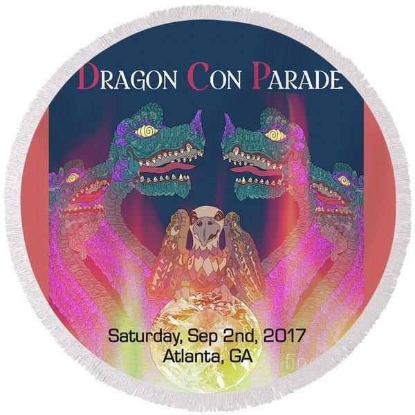 Round Beach Towel featuring the digital art Dragon Con Parade by Megan Dirsa-DuBois