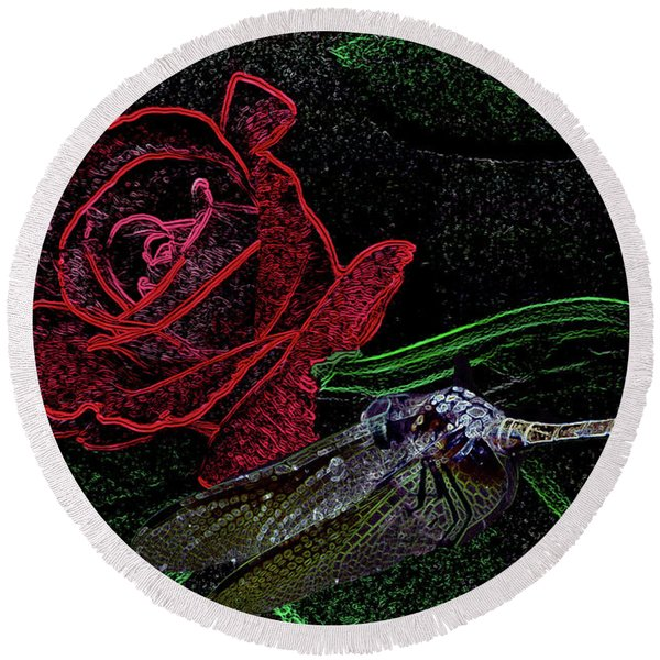 Dragonfly Dash With The Rose Neon Round Beach Towel