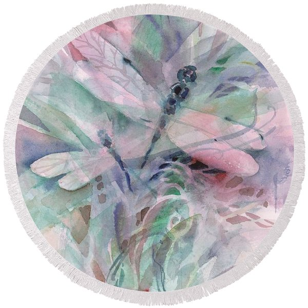 Round Beach Towel featuring the painting Dragonfly Duet by Carolyn Utigard Thomas