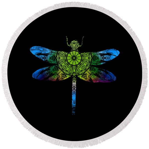 Dragonfly Kaleidoscope Round Beach Towel