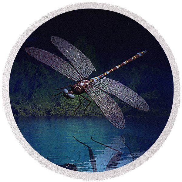 Dragonfly Night Reflections Round Beach Towel