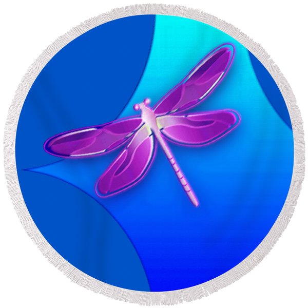 Dragonfly Pink On Blue Round Beach Towel