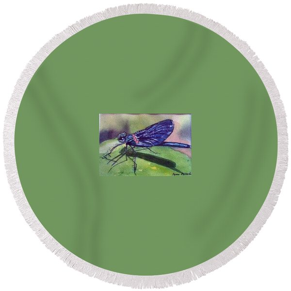 Dragonfly With Shadow Round Beach Towel