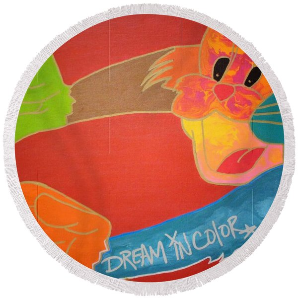 Dream In Color Round Beach Towel