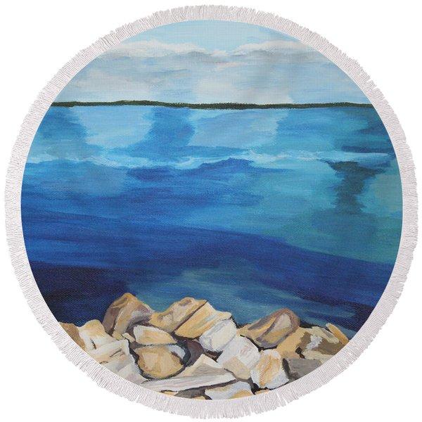 Dream Lake Round Beach Towel