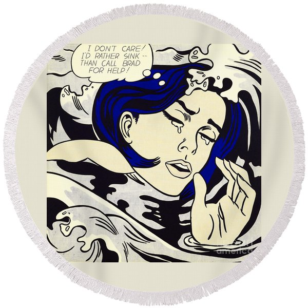 Drowning Girl - Aka Secret Hearts, I Don't Care Or I'd Rather Sink Round Beach Towel