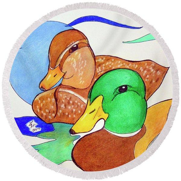 Ducks2017 Round Beach Towel