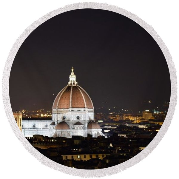 Duomo Illuminated Round Beach Towel