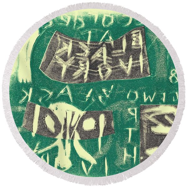 E Cd Grey And Green Round Beach Towel