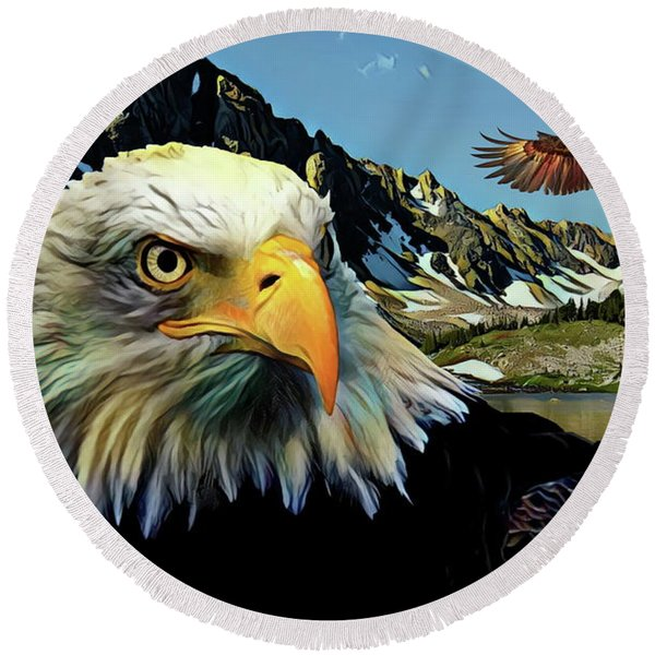 Eagles Lake Round Beach Towel