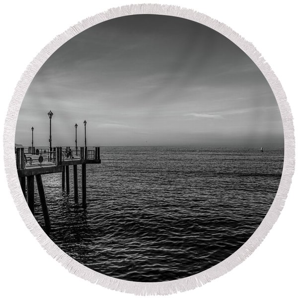 Round Beach Towel featuring the photograph Early Morning Redondo By Mike-hope by Michael Hope