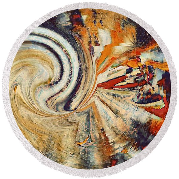 Earth Tones Round Beach Towel