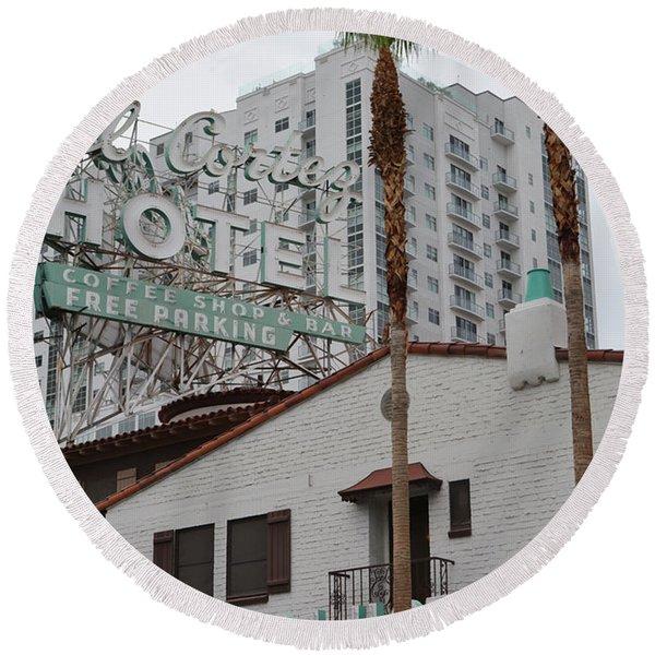 El Cortez Hotel Las Vegas Round Beach Towel