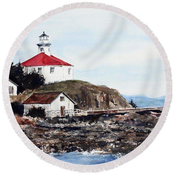Eldred Rock Lighthouse Round Beach Towel
