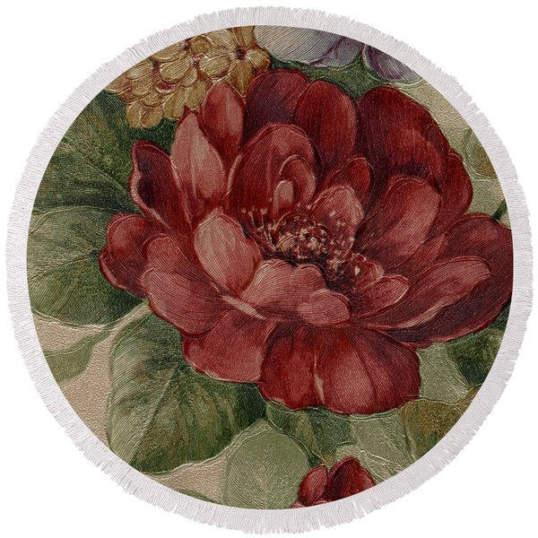Round Beach Towel featuring the mixed media Elegant Rose by Writermore Arts