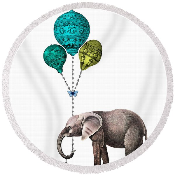 Elephant Holding Blue And Yellow Balloons Round Beach Towel
