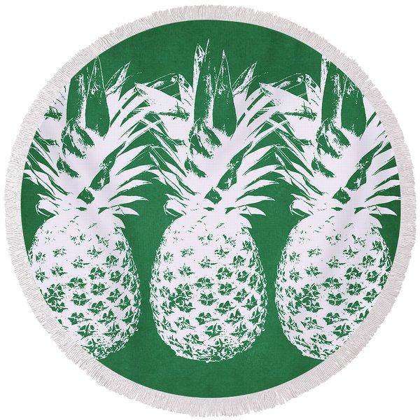 Emerald Pineapples- Art By Linda Woods Round Beach Towel