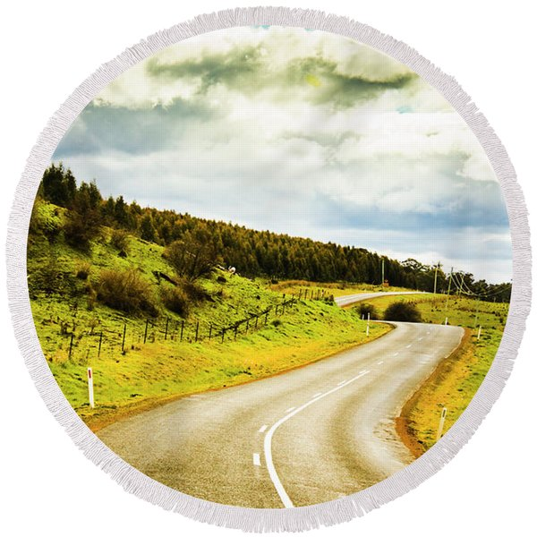 Empty Asphalt Road In Countryside Round Beach Towel