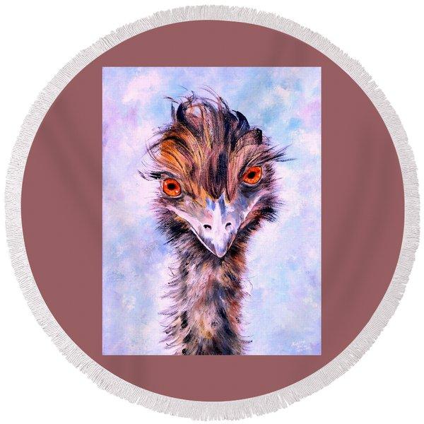 Emu Eyes Round Beach Towel
