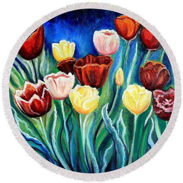 Enchanted Tulips Round Beach Towel