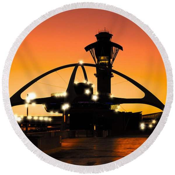 Round Beach Towel featuring the photograph Encounters Lax With Light by Michael Hope
