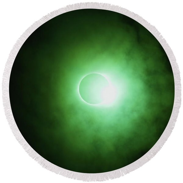 End Of Totality Round Beach Towel