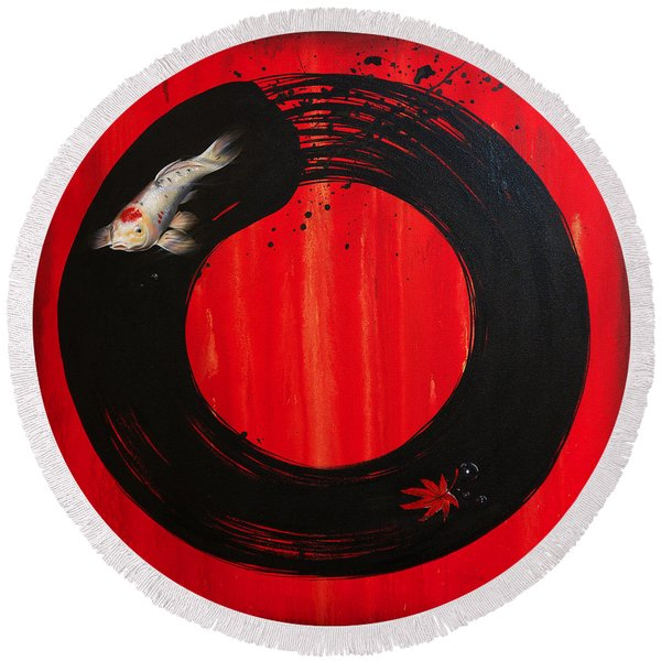Enso With Koi Red And Gold Round Beach Towel