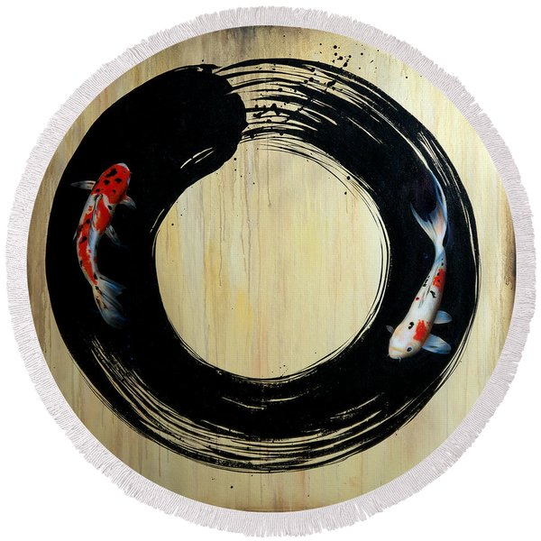 Enso With Koi Round Beach Towel