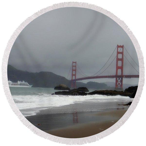 Entering The Golden Gate Round Beach Towel
