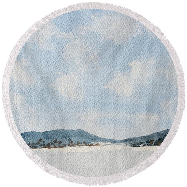 Entrance To Moulters Lagoon From Bathurst Harbour Round Beach Towel
