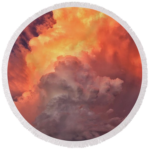 Epic Storm Clouds Round Beach Towel