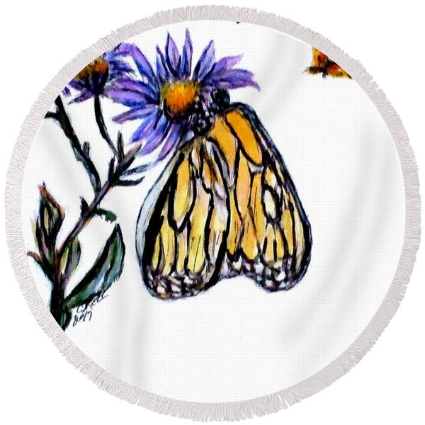 Erika's Butterfly One Round Beach Towel