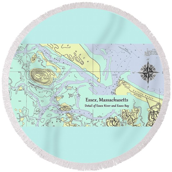 Essex River Detail Round Beach Towel