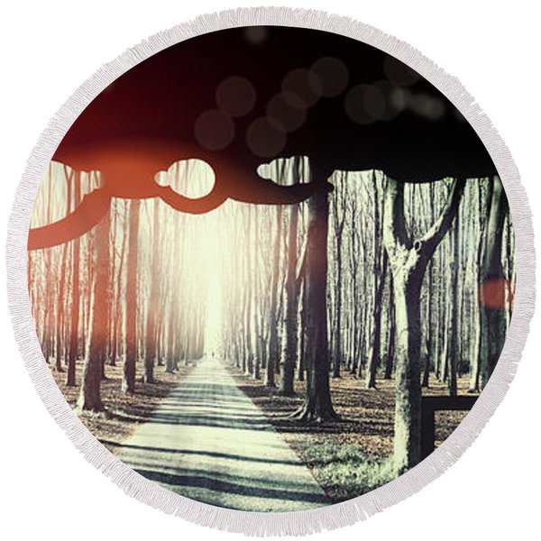 Round Beach Towel featuring the photograph Eternity, Conceptual Background by Ariadna De Raadt