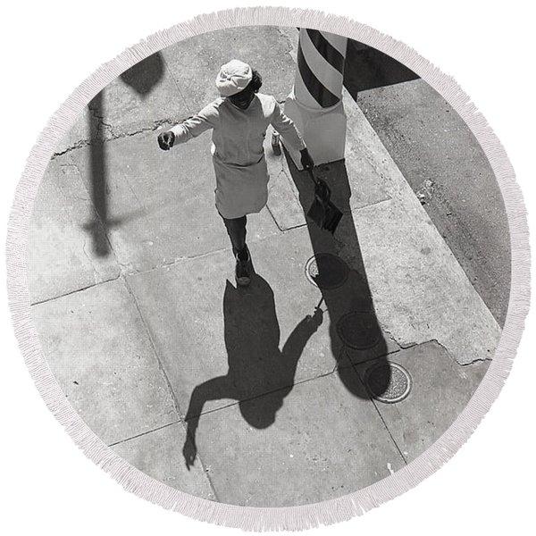Even Your Shadow Dances On Mardi Gras Day Round Beach Towel