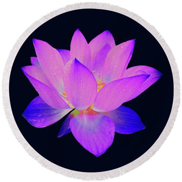 Evening Purple Lotus  Round Beach Towel