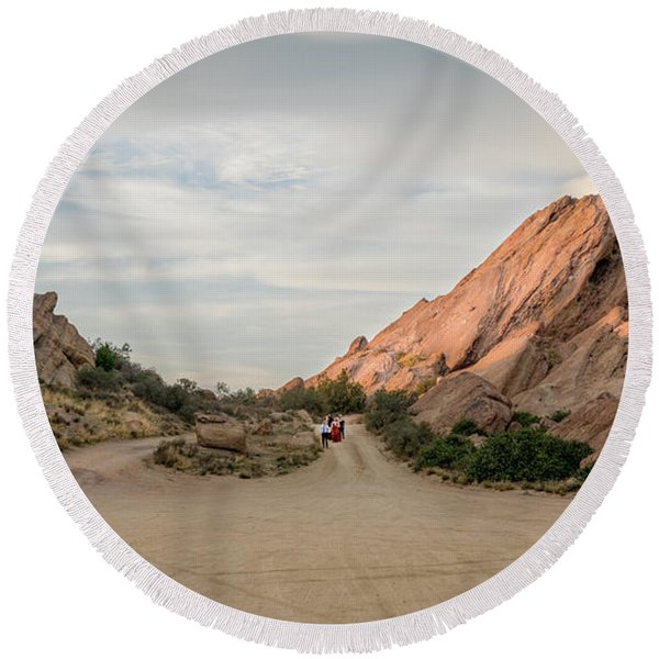 Round Beach Towel featuring the photograph Evening Rocks By Mike-hope by Michael Hope
